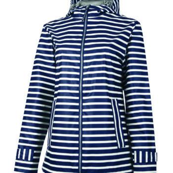 5099 Women's New Englander Rain   Navy/White Strip