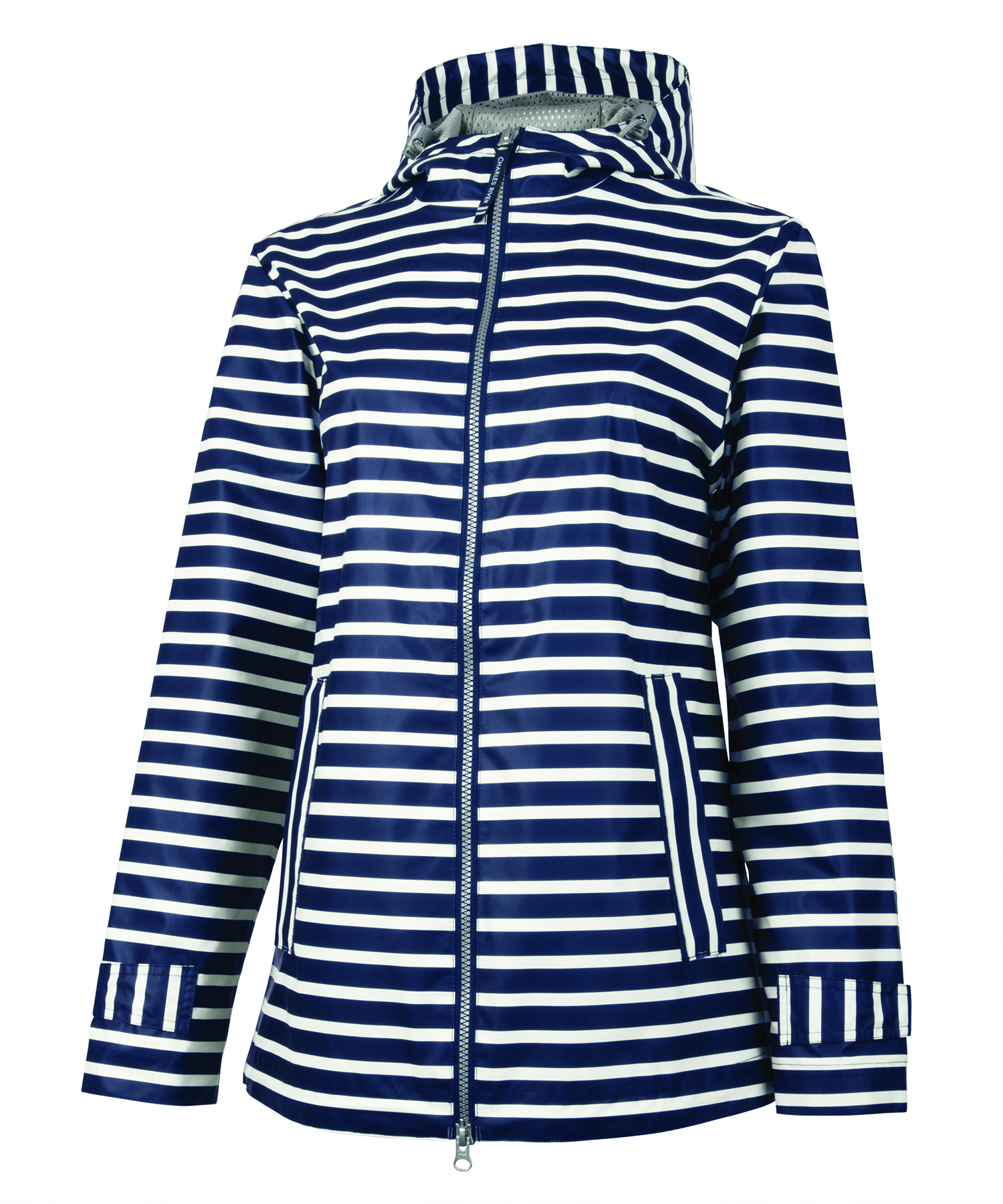 5099 Women's New Englander Rain   Navy/White Strip