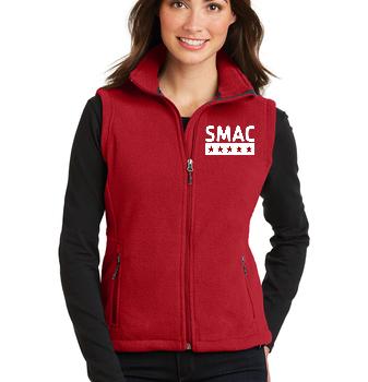 SMAC Ladies Fleece Vest   True Red