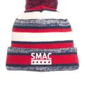 SMAC Pom Pom Beanie   Navy/Red