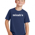 Micah's Youth Short Sleeve Tee   Navy
