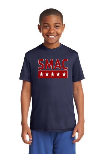 SMAC Youth Wicking T shirt   True Navy