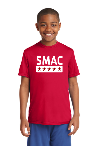 SMAC Youth Wicking T shirt   True Red