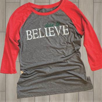 Dare to Believe Ladies Baseball Tri blend Tee   Red/Grey