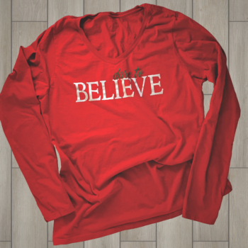 Dare to Believe Ladies Long Sleeve V Neck Tee   Team Cardinal