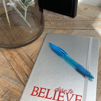 Dare to Believe Lined Journal   Silver/Red