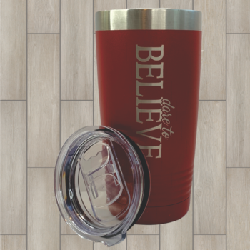 Dare to Believe 20 oz Tumbler with Slide Lid   Red