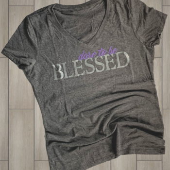 Dare to be Blessed Ladies Tri Blend V Neck Tee   Grey Frost