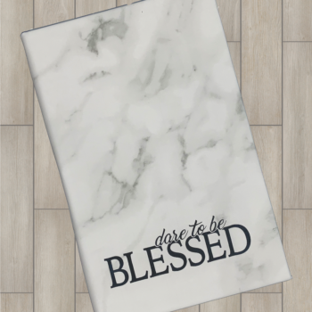 Dare to be Blessed Leatherette Journal   White Marble