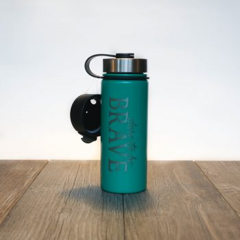 Dare to be Brave 18 oz Water Bottle   Emerald