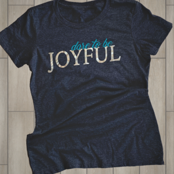 Dare to be Joyful Ladies Crew Neck Tee   Heather Navy
