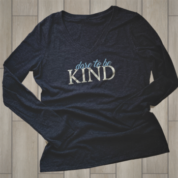Dare to Be Kind Ladies Long Sleeve V Neck Tee   Heather Navy