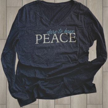 Dare to have Peace Ladies Long Sleeve Tee   Heathered Navy