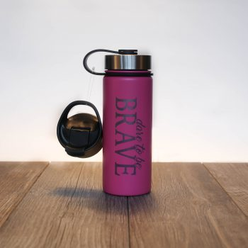 Dare to be Brave 18 oz Water Bottle   Candy Pink