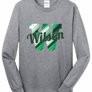 Long Sleeve Abstract Script   Athletic Heather